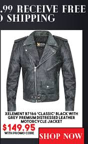 xelement b7166 classic black with grey premium distressed leather motorcycle jacket