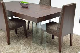wood contemporary rectangular dinette with glass legs larger image