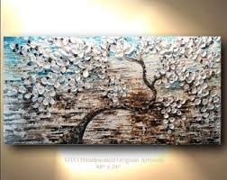 white gold brown blue flower abstract tree painting art canvas oil wall decor artwork impasto textured art by oto on black white blue wall art with acrylic paintings etsy