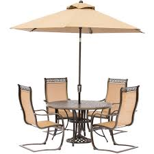 hanover manor 5 piece aluminum round outdoor dining set with spring sling chairs cast
