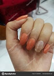 Nehty Barevné Korály Oranžové Jiskru Glitter Stock Fotografie