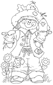 turkeys with scarecrow coloring page thanksgiving
