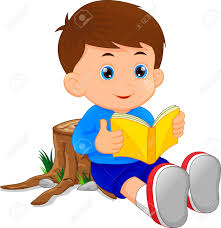 cute little boy reading book stock vector 82629442