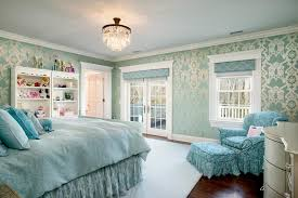 Girlu0027s Bedroom This Fancy (and Sweet) Bedroom Is Fit For A Little Princess  With Its Ornate Silver And Blue Wallpaper, Crystal Chandelier And Ruffled  ...