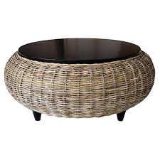 round wicker coffee table paradise wood top gray pad square outdoor round wicker coffee table