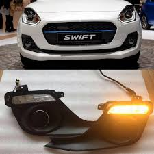 Swift Car Led Lights Us 65 07 10 Off Car Flashing 2pcs Car Led Drl Daytime Running Lights With Yellow Turning Signal Fog Lamp Cover For Suzuki Swift 2017 2018 2019 In