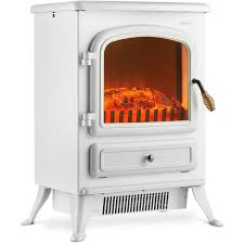 vonhaus electric fireplace stove heater with flame effect white 1850w portable freestanding fire place log burner light