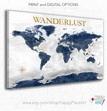 navy and gold world map canvas or push pin map of the world wander adventure awaits personalized custom text world map office wall art