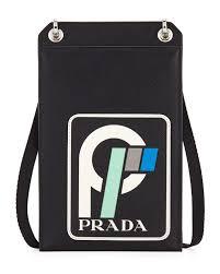 prada men s saffiano leather patch lanyard id holder