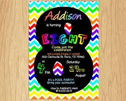 8th Birthday Party Invitations 8th Birthday Invitation Rainbow Chevron Pastel Eight Birthday Party