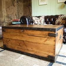 VINTAGE MILITARY CHEST industrial trunk WWI FOOTLOCKER pine chest COFFEE  TABLE