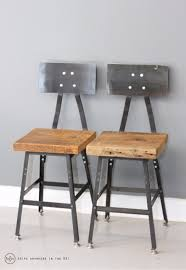 Set of 2 Barstool, Industrial Barstool, Steel, Reclaimed Wood, Metal Stool