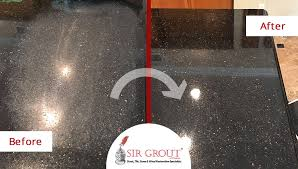 before and after picture of a stone honing service on a granite countertop in tempe arizona