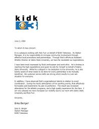 Kidk Tv Reference Letter