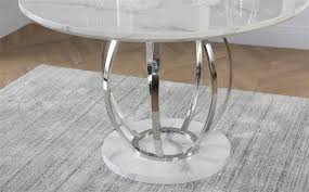 savoy round white marble and chrome dining table with 4 perth grey chairs only 499 99 furniture choice