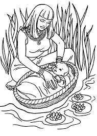 Small Picture Moses Found Safely in River of Nile Coloring Page Color Luna