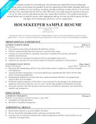 Laundry Attendant Resume Sample Unforgettable Housekeeper Room