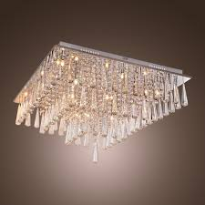 kjlars luxury crystal flush mount modern chandelier ceiling light for living room g4 16 bulbs