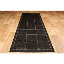 checked flat weave multi purpose kitchen mat rug runner black runner 60 x 180 cm