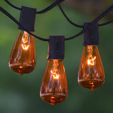 25 ft black c9 string light with vintage edison amber bulbs