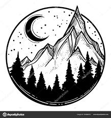 Beautiful Vector Illustration Nature Landscape Mountains Pine Forest
