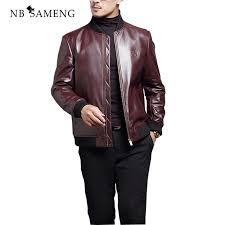 2018 men genuine leather jacket fashion autumn brand soild colour