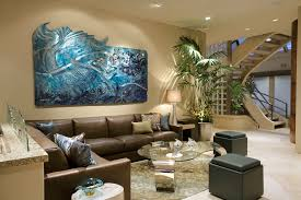 designs ideas contemporary living room with sectional leather sofa and blue aluminium mermaid wall art on decorative modern wall art with designs ideas contemporary living room with sectional leather sofa