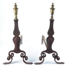 sold antique fireplace andirons by cahill iron works