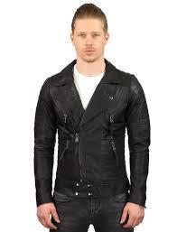 leather biker jacket men black versano tr50 model2