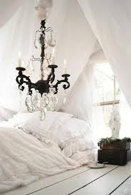 shabby chic bedroom linen chandelier candles