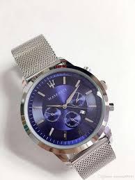 Wholesale Designer Watches Wholesale Maserati Steel Mesh Watch 44mm Mens Designer Watches Luxury Sports Car Sports Brand Watches Blue Dial Quartz Clock Montre Homme Automatic