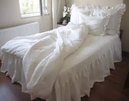 washed eggshell white ivory linen ruffle sham bedding king duvet white and ivory bedding
