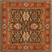 heritage chocolate tangerine 6 ft x 6 ft square area rug