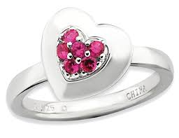 synthetic lab created ruby heart promise ring in sterling silver 1 4 carat ctw