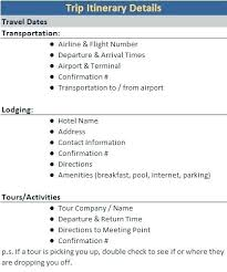 Travel Agenda Template Format C 3 4 A 1 2 Vacation Itinerary