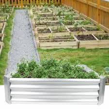 metal raised garden bed corrugated with lining plant care soil growing box yardz