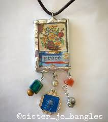grace double sided glass and solder pendant