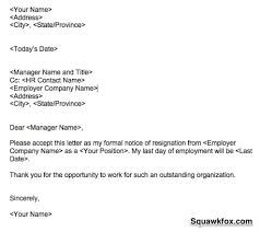 How To Write A Resigning Letter A Short Resignation Letter Example That Gets The Job Done Squawkfox
