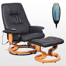 massage chair and footstool. real leather reclining massage chair with small foot-stool and footstool