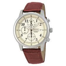 seiko chronograph beige dial burgandy leather men s watch