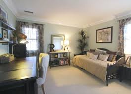 guest bedroom and office. Guest Room And Office. Wild Grass Wall Color. Vista Paint. Cane Daybed. Bedroom Office L