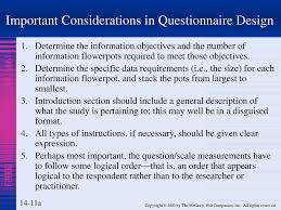 Considerations When Designing A Questionnaire 14 Questionnaire Design And Issues Chapter Ppt Download