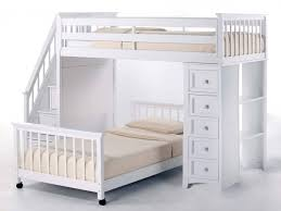 bunk bed with stairs plans. This Bright White Painted Wood Frame Bunk Bed Features A Movable Lower  Set Perpendicularly Below With Stairs Plans