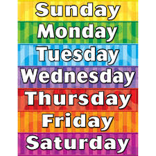 Week Days Chart Days Of The Week Chart