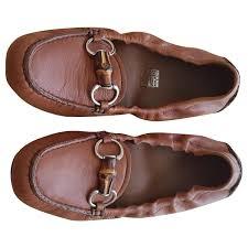 gucci gucci mocassinas flats leather cognac ref 125165