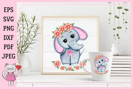Elephants svg png template, mom svg, baby svg, elephant svg, floral clipart, floral animal png cutting svg files for cricut and silhouette. Cute Watercolor Girl Elephant Graphic By Magic World Of Design Creative Fabrica