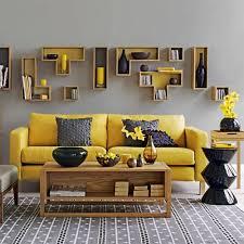 Inspiring Wooden Art Bookshelves Design To Create Life Gray And Yellow Living  Room