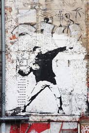Banksy Flower Chucker / Thrower in Berlin - Berlin Love