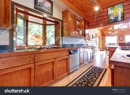 Cabin Kitchen Large Kitchen Log Cabin House Interior Stock Photo 100878784