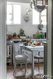 The kitchen Benedicte Patin in his apartment on the outskirts of Paris is  decorated in a country spirit